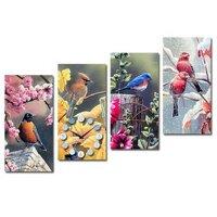 Tranh đồng hồ Suemall chim bốn mùa