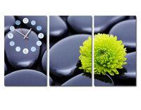 Tranh đồng hồ Suemall hoa cúc tươi xanh