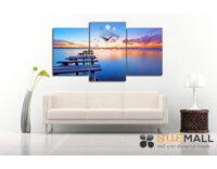 Tranh đồng hồ treo tường - Hồ Hoàng Hôn Suemall