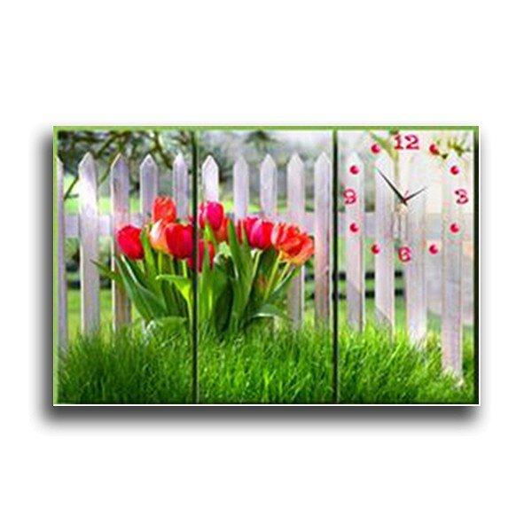 Tranh Đồng Hồ Tulip Ngày Mới Vicdecor DHT0218