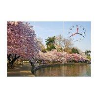 Tranh đồng hồ vườn hoa đào-TDH12