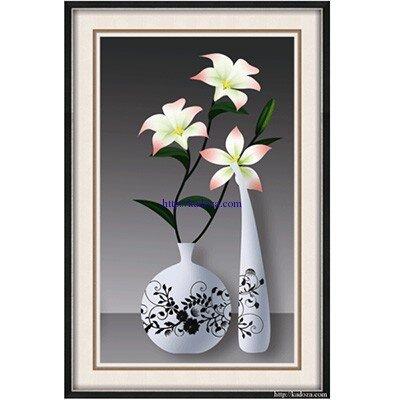 Tranh gắn đá hạt tròn Shanshi bình hoa - S8197