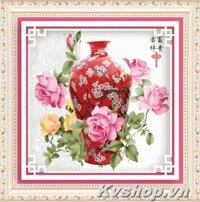 Tranh gắn đá Shanshi bình hoa - S8106