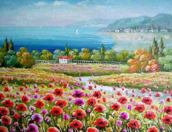 Tranh in canvas VTC Luna CV-0060 - cánh đồng hoa, 60 x 40cm