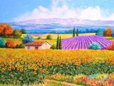 Tranh in canvas VTC Luna CV-0011 - cánh đồng hoa, 60 x 40cm