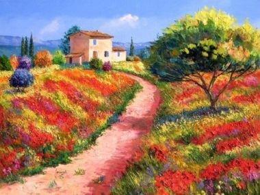 Tranh in canvas VTC Luna CV-0012 - đường hoa, 60 x 40cm