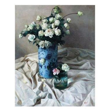 Tranh in canvas VTC LunaCV-0298 - tĩnh vật hoa hồng