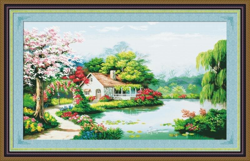 Tranh lịch vạn niên:Ngôi nhà hạnh phúc dh731