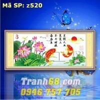 Tranh thêu chữ thập cá chép - DLH-YZ520