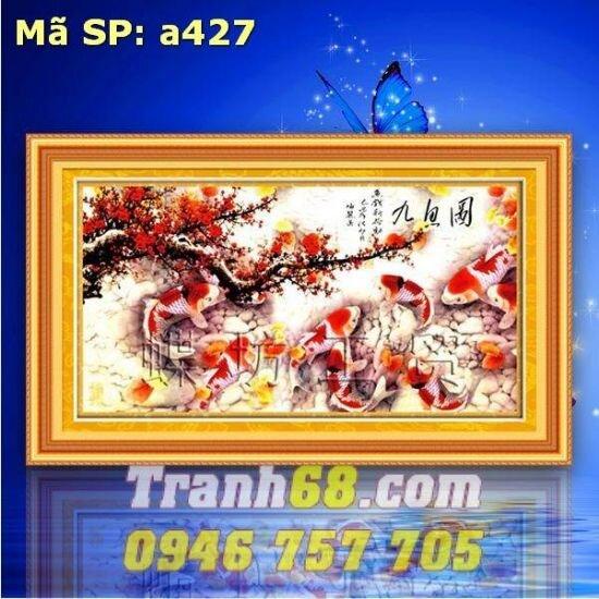 Tranh thêu chữ thập cá chép DLH-YA427