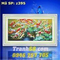 Tranh thêu chữ thập cá chép DLH-YZ395