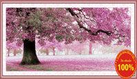 Tranh thêu chữ thập cây hoa tím - DLH-YA251