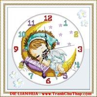 Tranh thêu chữ thập Đồng hồ bé gái ngủ ngon DLH-YA835