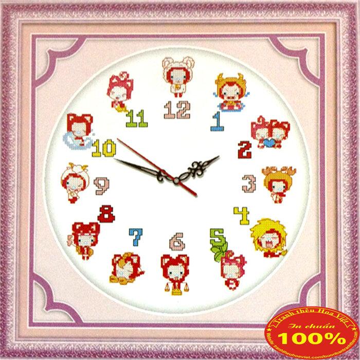 Tranh thêu chữ thập đồng hồ con giáp DLH-YA899
