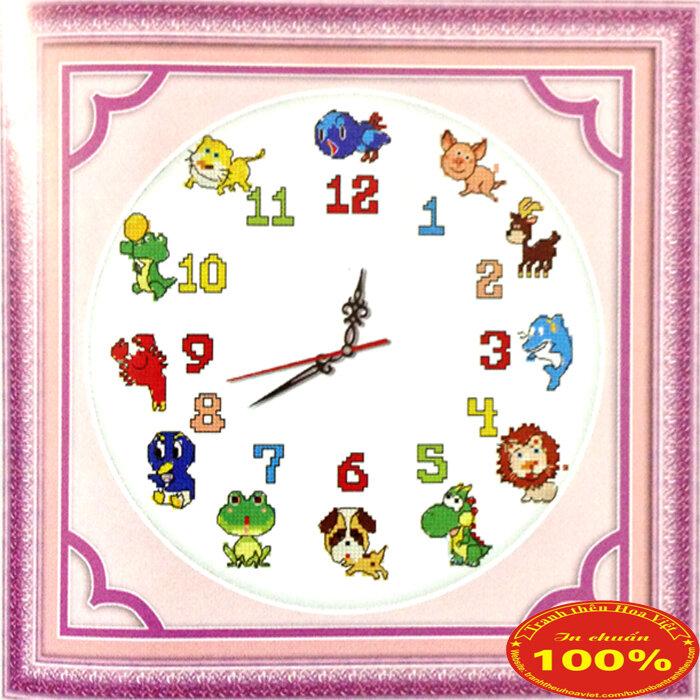 Tranh thêu chữ thập đồng hồ con giáp DLH-YA896