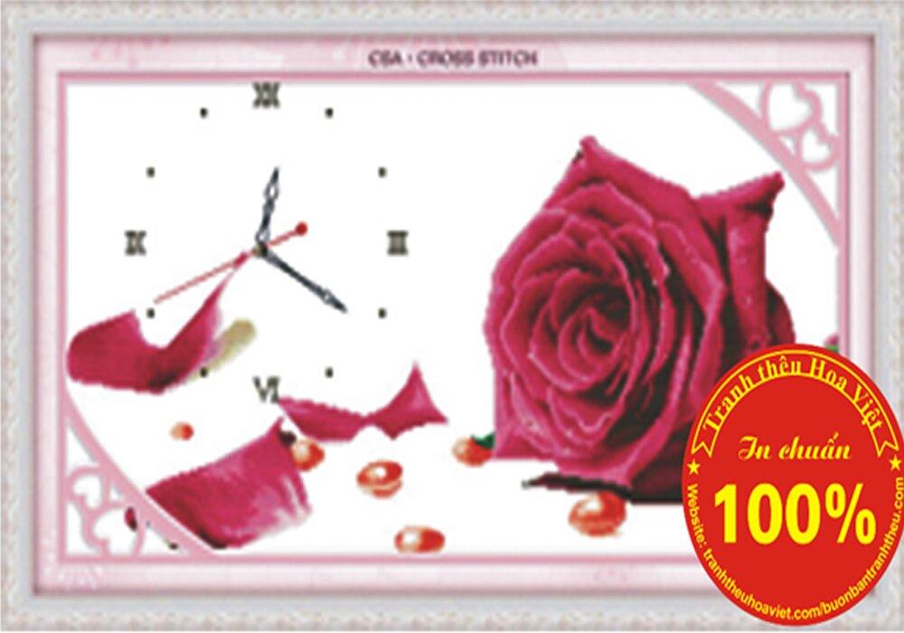 Tranh thêu chữ thập đồng hồ hoa hồng - DLH-Y8189