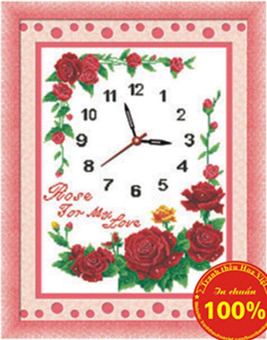 Tranh thêu chữ thập - đồng hồ hoa hồng - DLH-Y8186