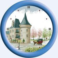 Tranh thêu chữ thập đồng hồ lâu đài cổ