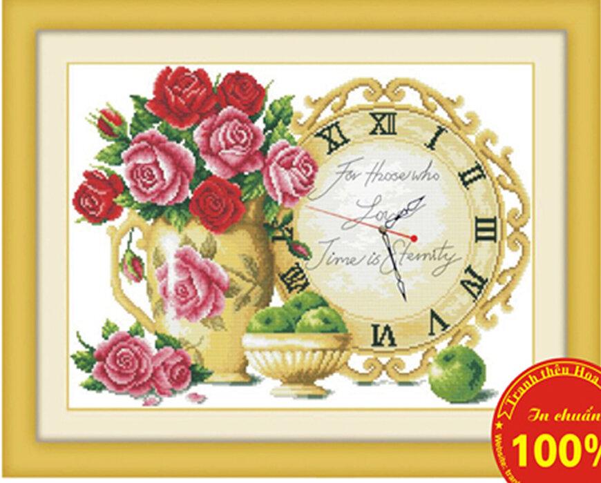 Tranh thêu chữ thập đồng hồ hoa hồng - DLH-Y8050