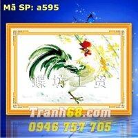 Tranh thêu chữ thập gà trống DLH-YA595