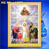 Tranh thêu chữ thập gia đình thánh gia DLH-YA1005