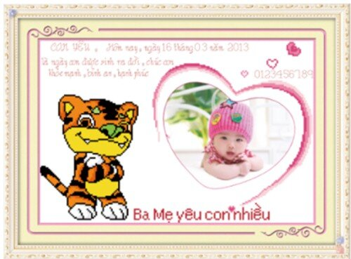 tranh thêu chữ thập hổ - DLH-222703