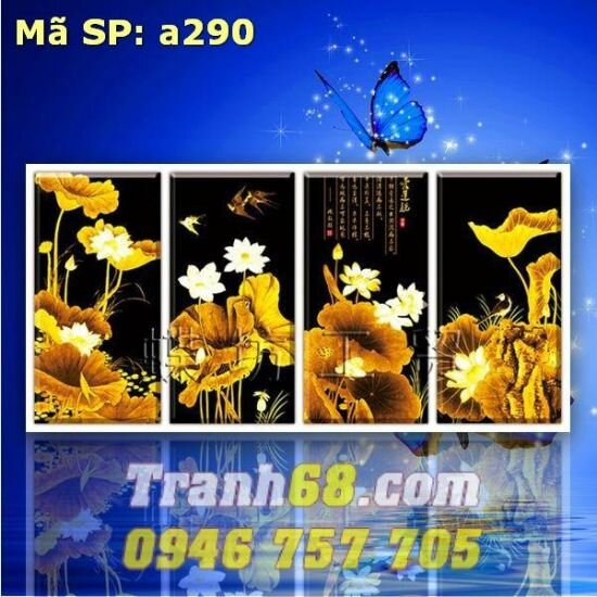 Tranh thêu chữ thập hoa - DLH-YA290