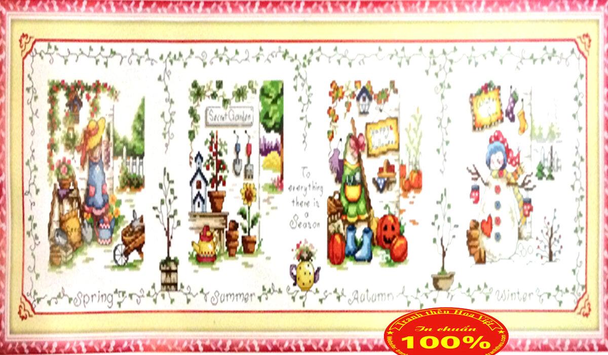 Tranh thêu chữ thập hoa - DLH-YA547