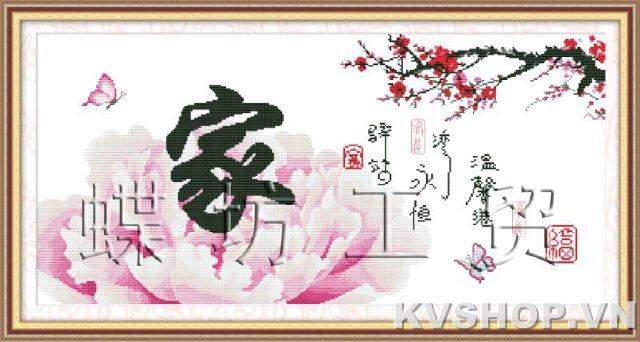 Tranh thêu chữ thập - Hoa - DLH-YZ454