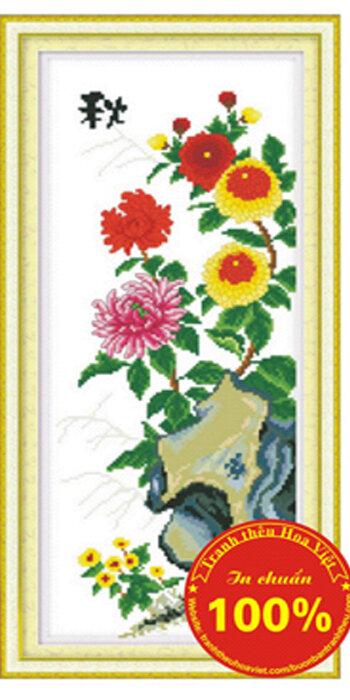 Tranh thêu chữ thập hoa cúc - DLH-YF325