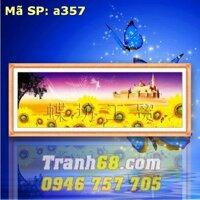 Tranh thêu chữ thập hoa hướng dương - DLH-YA357