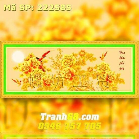 Tranh thêu chữ thập hoa khai phú quý - DLH-222585