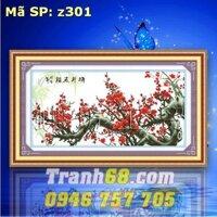 Tranh thêu chữ thập hoa khai phú quý - DLH-YZ301
