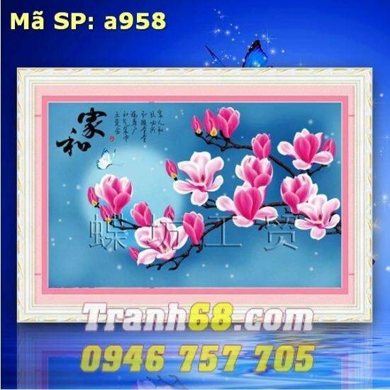 Tranh thêu chữ thập hoa lan DLH-YA958