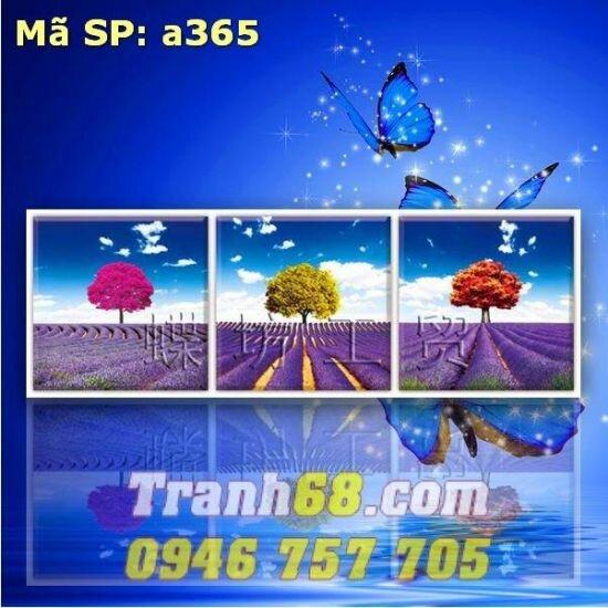 Tranh thêu chữ thập hoa oải hương DLH-YA365