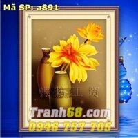Tranh thêu chữ thập hoa sen DLH-YA891