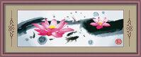 Tranh thêu chữ thập hoa sen DLH-Y8166