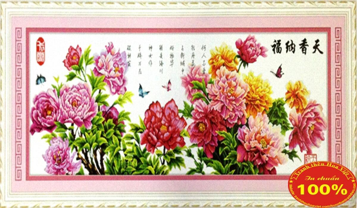 Tranh thêu chữ thập hoa DLH-YZ604