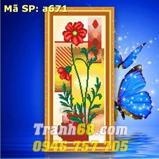 Tranh thêu chữ thập hoa DLH-YA671