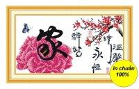 Tranh thêu chữ thập hoa DLH-YZ581
