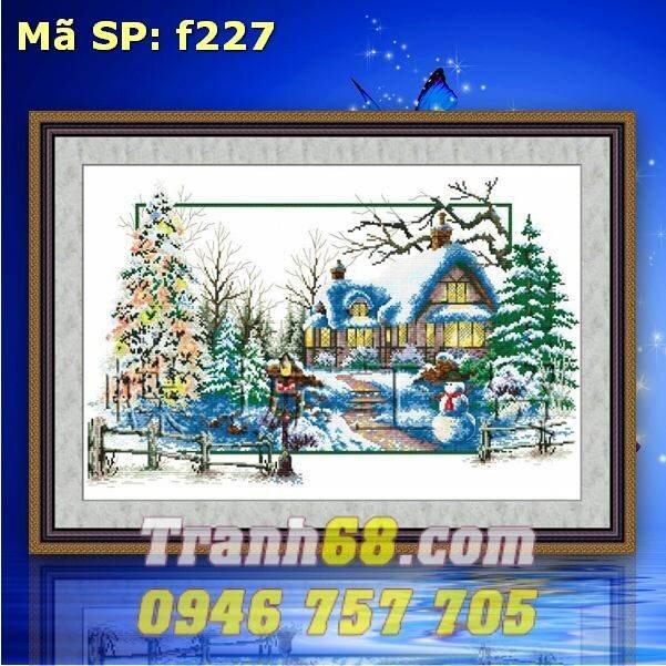 Tranh thêu chữ thập ngôi nhà mùa đông DLH-YF227