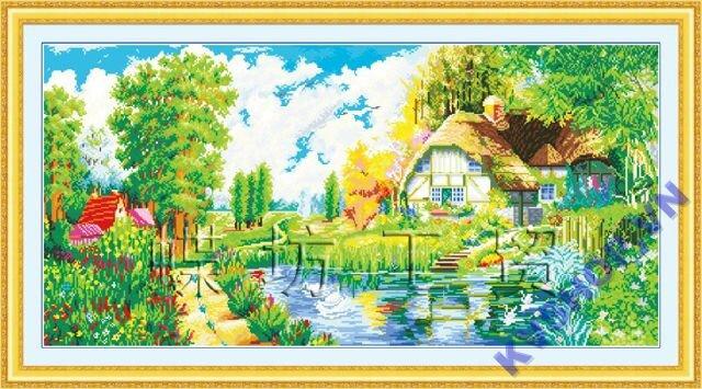 Tranh thêu chữ thập -phong cảnh ngôi nhà - DLH-YA678