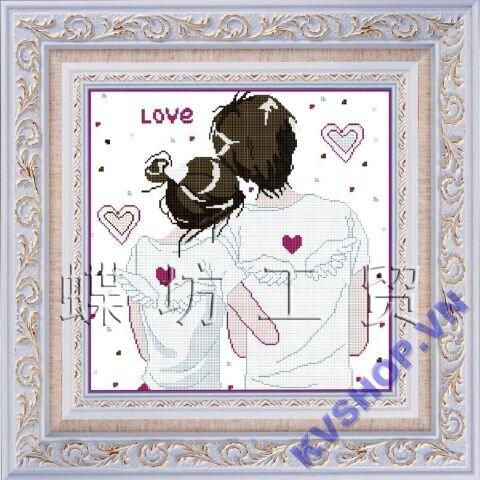 Tranh thêu chữ thập tình yêu DLH-YK258