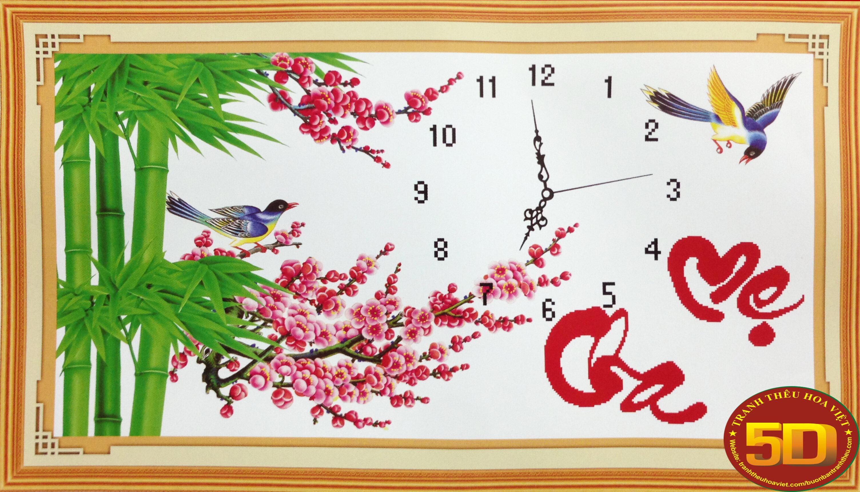 Tranh thêu đồng hồ cha mẹ - DLH-222649