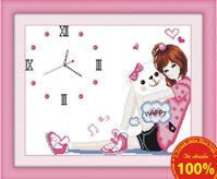 Tranh thêu đồng hồ cô gái DLH-Y8061