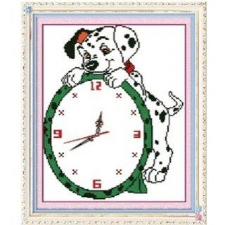 Tranh thêu đồng hồ cún con - DLH-YA1075