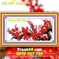 Tranh thêu hoa đào - DLH-222269