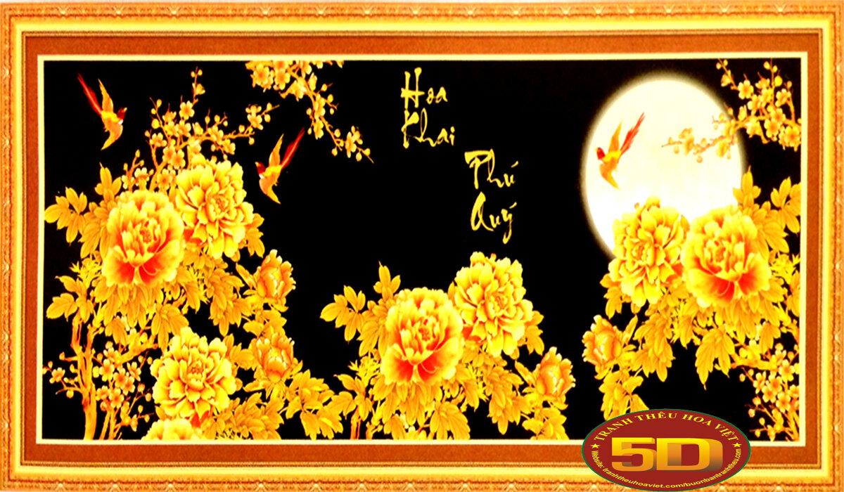 Tranh thêu hoa khai phú quý - DLH-222566