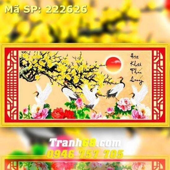 Tranh thêu hoa khai phú quý - DLH-222626
