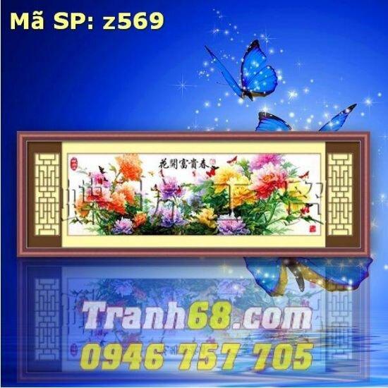 Tranh thêu hoa phú quý DLH-YZ569